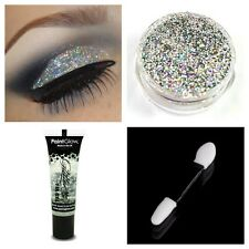 Glitter Eyeshadow Holo Silver + Fixative Fix Gel Glue + Wand Eyes Face Makeup