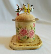 Vintage Pin Hand Painted  Pin Cushion with Mini Stick Pins
