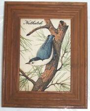 Vintage Kay Dee Framed NUTHATCH 100% Pure Linen 9.5 x 7.5 inches MCM