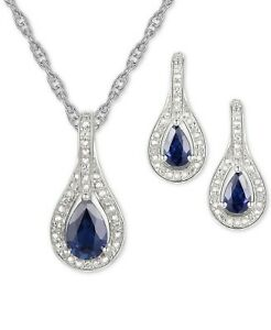 2-Pc.Set Sapphire Diamond Pendant Necklace & Earrings in Sterling Silver