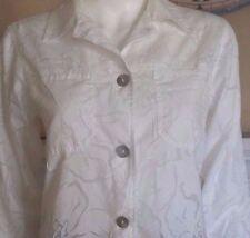 Denim & Co.White Lightweight Jacket Style Sheer Blouse - Extra Small - EUC