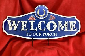 """The Pioneer Woman MDF Painted Floral - Welcome to our Porch - Sign 24"""" x 11"""""""