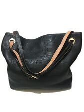 DOONEY & BOURKE - Black Textured Leather Carry-all Hobo Bag - Large