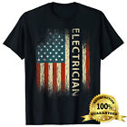 Mens Patriotic Electrician Gifts American USA Flag Funny Lineman T-Shirt