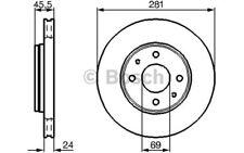 1x BOSCH Disco de freno delantero Ventilado 281mm Para VOLVO S40 0 986 479 B37