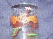 HAZEL ATLAS WHITE HEADED PHEASANT12 OZ TUMBLER GLASS BIRD YELLOW MAN HUNTER