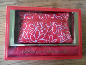 Cosmetic Case & Mini Umbrella Red Nylon Gift Boxed