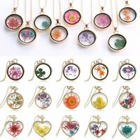 Natural Real Dried Flower Heart Glass Pendant Necklace Sweater Chain Jewellery
