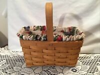 "Longaberger 1999 Candle Basket Combo 9"" x 5"" x 10"" fixed Handle Liner Protector"
