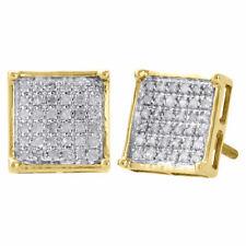 10K Oro Giallo Ricoperto di Diamanti Borchie Mini 8.60mm 4 Graffa Orecchini 0.25