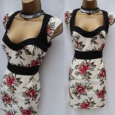 FRENCH CONNECTION Cotton Embroidered FLORAL Summer Cocktail DRESS SZ 12/ 40 EU