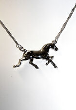 Running Horse Charm Pendant Necklace 5072 Silver Tone Metal