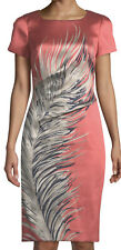68. Carolina Herrera Short Sleeve Feather Print Sheath Dress New 10
