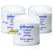 3x Johnsons Baby Pure Cotton Buds Naturally Absorbent & Gentle 3 x 200