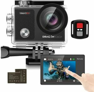 Touch Screen Action Camera, 4K 16MP 100ft Waterproof 2 batteries Staycation sale