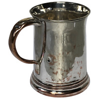 English Antique Early Victorian 19th Century Silver Plate Pint Beer Cup Tankard