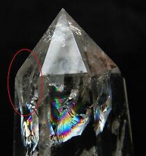 "Big Rainbow ! Natural White Quartz Point Crystal Love Healing W ""Stone In Stone"""