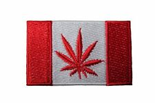 CANADA Country Flag , Red MARIJUANA LEAF Embroidered Iron-On PATCH CREST BADGE