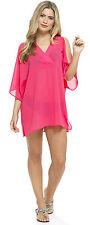 Womens Cold Shoulder Chiffon Kaftan Top Beach Cover Up Summer Dress Ladies Size