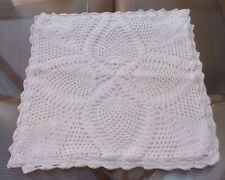 Vintage White Crocheted Cotton Cushion Cover ~ Pineapple Design