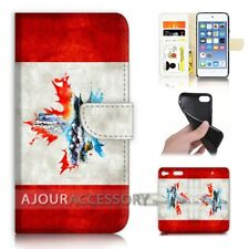 ( For iPod Touch 6 ) Wallet Flip Case Cover AJ40337 Canada Flag