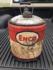 Vintage Rare Enco 5 Gallon Oil Can - Humble Oil, Nice Color!