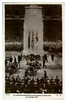 Antique WW1 military RPPC postcard The Unknown Warriors Cortege Cenotaph