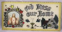 """Vintage Glass Plaque Religious God Bless Our House Painting on Glass NICE!  16"""""""