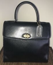 Coach Vintage Copley Madison Black Leather 4417 Italy Top Handle Kelly Bag