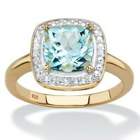 2.62 TCW Sky Blue Topaz 14k Yellow Gold over .925 Silver Ring