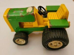"Vintage TONKA FARM TRACTOR (811002) Green Yellow Metal Toy 4 1/4"""