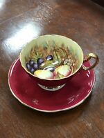 VINTAGE AYNSLEY CABINET CUP AND SAUCER RED ORCHARD FRUIT SIGNED D JONES