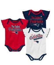 New England Patriots NFL Infant/Baby Girls' 3-Pack Bodysuits/Creepers: 0/3-18m