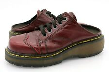 Dr. Martens Womens US 6 Burgundy Leather 9936 Lace Up Slip On Mules Clogs Shoes