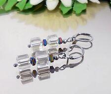 Brillianter Glanz 2 Würfel Ohrhänger Kristall Glas Hämatit Edelst. Ohr Brisur