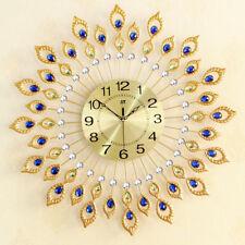 FM- EG_ Luxury European Style Art Mute Wall Clock Peacock Diamante Quartz Clock