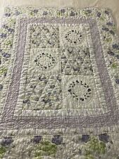 """Vintage Hand Quilted Purple Roses & Embroidered Flower Wreaths Quilt 45"""" x 55"""""""