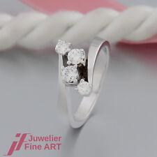 Ring mit 4 Brillanten (Diamant) ges. ca. 0,34ct - in 14K/585 Weißgold - Größe 49