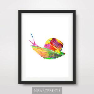 SNAIL ANIMAL SILHOUETTE Art Print Poster Multi Colour Modern Design Shape Pop
