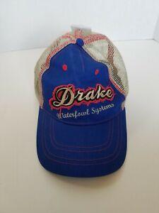 DRAKE WATERFOWL DISTRESSED LABEL LOGO COTTON HAT MESH BACK BALL CAP BLUE RED