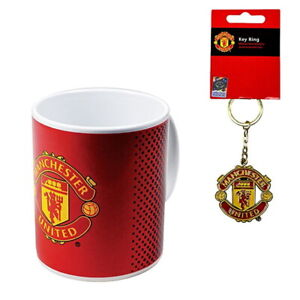MANCHESTER UNITED CERAMIC MUG (11oz) & TEAM CREST KEYCHAIN OFFICIALLY LICENSED