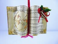 Vintage Look Open Book Ornament Hymnal Christmas Songs With Miniature Trumpet