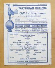 More details for tottenham hotspur v racing club de paris friendly 1954/1955 fair cond programme