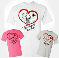 Happy Valentines Day T-Shirt You Make My Heart Smile Cupid Unisex Adult Gift
