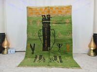 """Moroccan Handmade Vintage Boujaad  Wool Rug 5'4""""x8'2"""" Abstract Berber Green Rug"""
