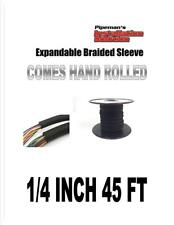 "1/4"" 45 feet Black Expandable Braided Sleeving Flexible Car Wiring Tubing"