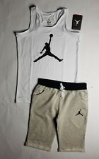 Nike Air Jordan Girls 2 PC Set Shirt Tee & Cappri Shorts Outfit Size XL
