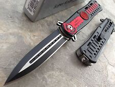 US FIRE DEPT Black Red DAGGER Assisted Open Rescue Pocket Knife Brand New!!