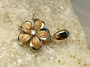Petite 14K White Rose Gold Flower Pendant Charm Diamond? Accent 1.59g Jewelry