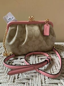 💙 Coach C2876 Nora Kisslock Crossbody Bag Signature Pink Clutch Chain Strap NWT